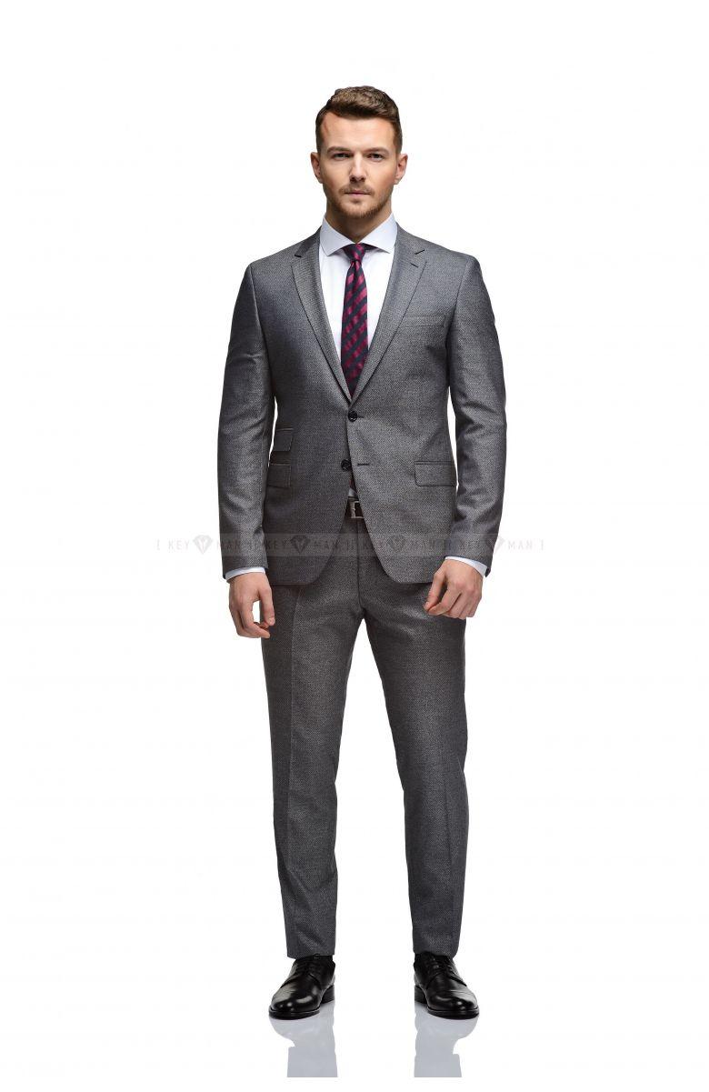 Комплект в офис с светло-серым фактурным костюмом (КОСТЮМ, РУБАШКА, ТУФЛИ, РЕМЕНЬ, ГАЛСТУК)