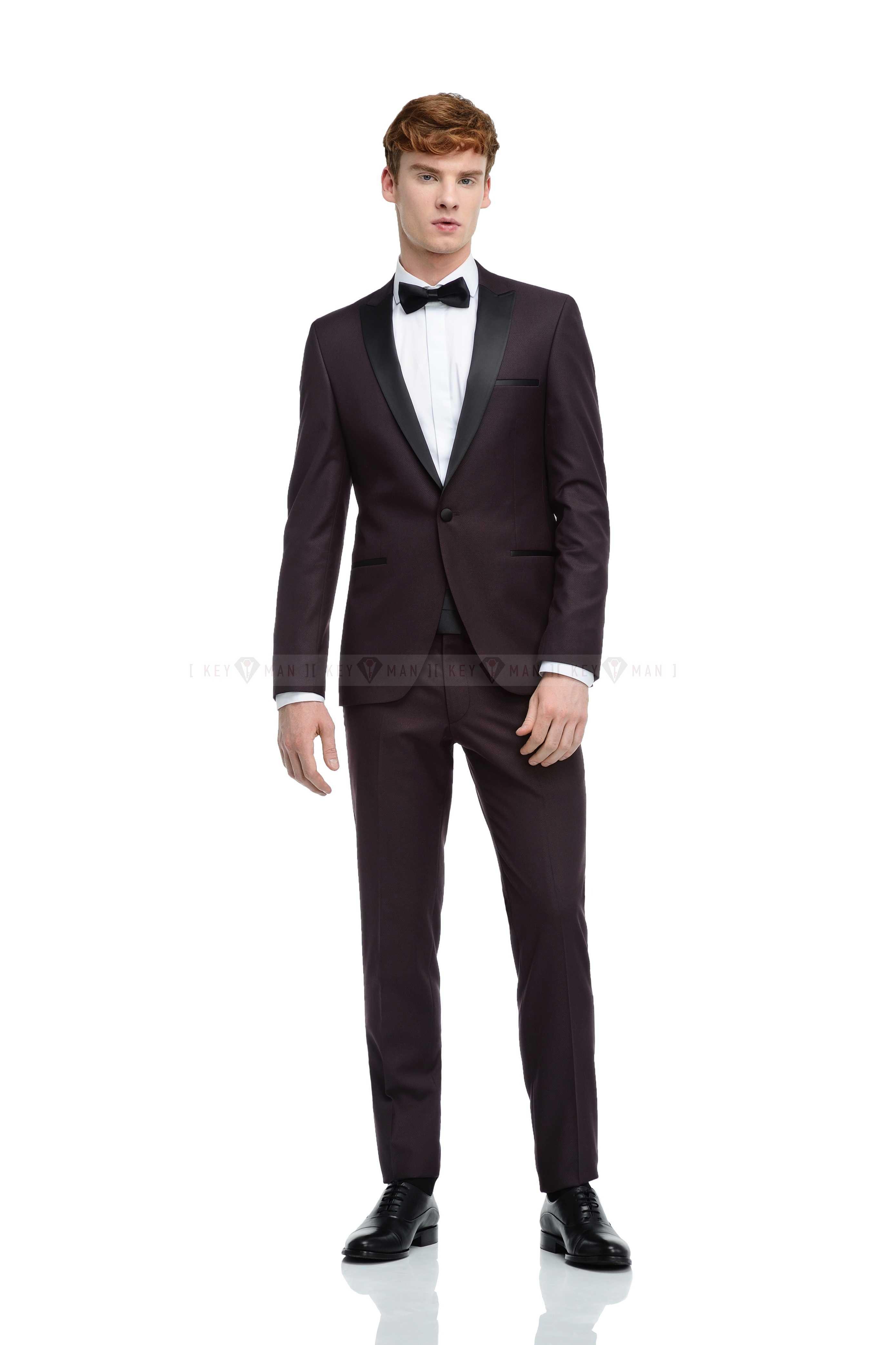 Костюм мужской смокинг темно-бордовый с черным итальянским лацканом