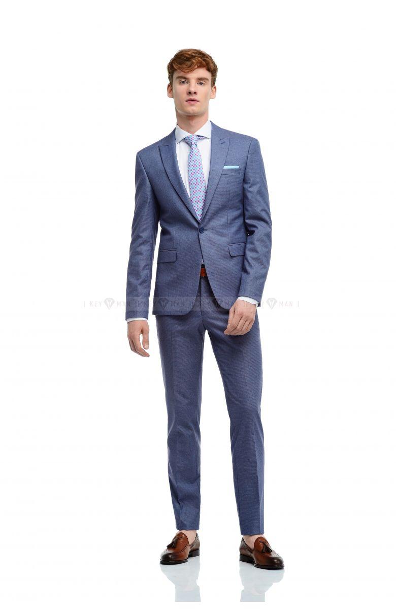 Комплект на корпоратив с костюмом в сине-бордовую гусиную лапку (костюм, рубашка, галстук, ремень, туфли)
