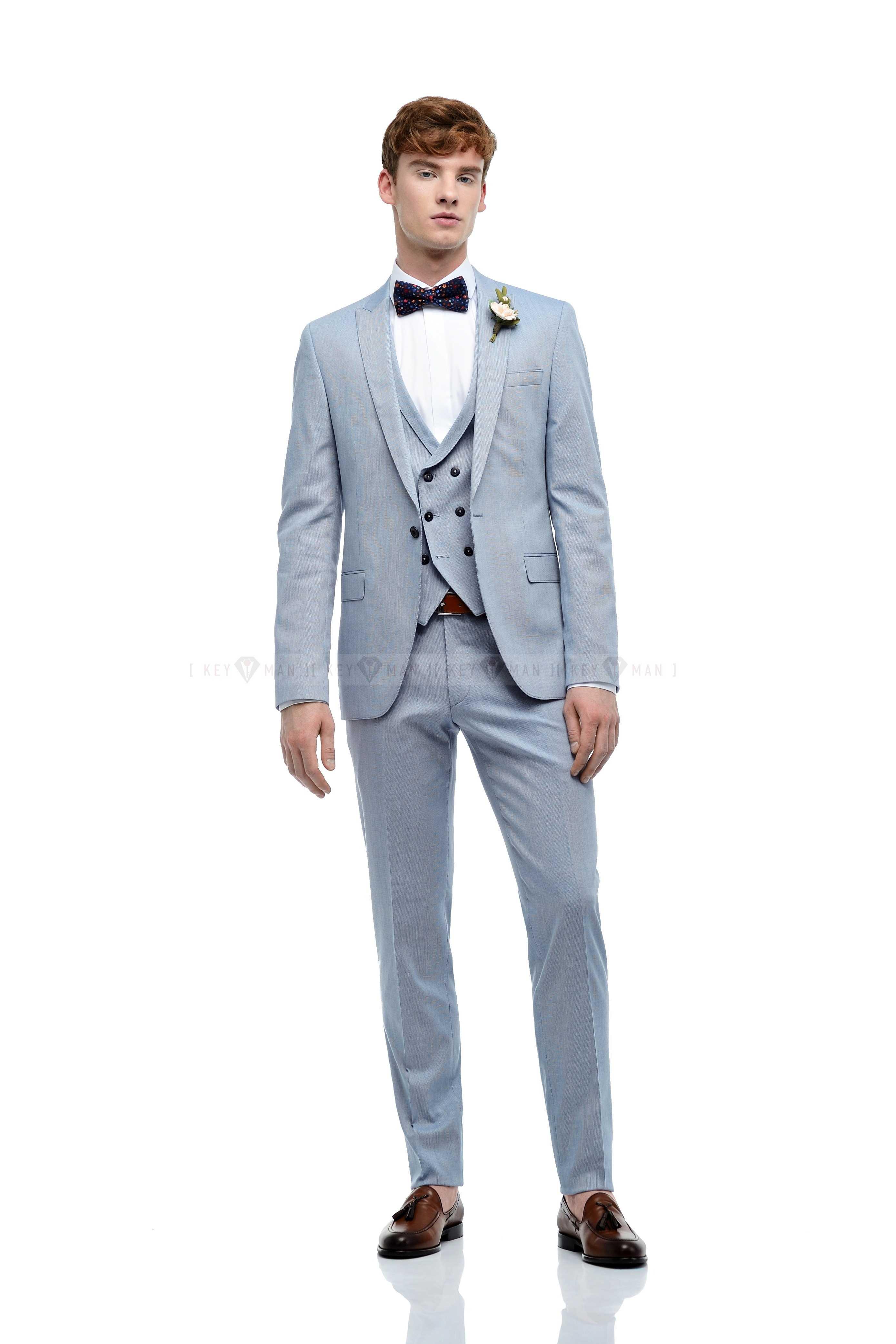Костюм мужской хлопковый, голубой, полосатая фактура, тройка (с жилетом)
