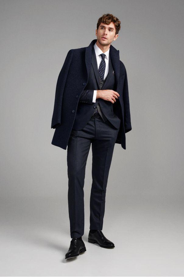 Пальто мужское синее, в крупную елочку, демисезонное, итальянский лацкан