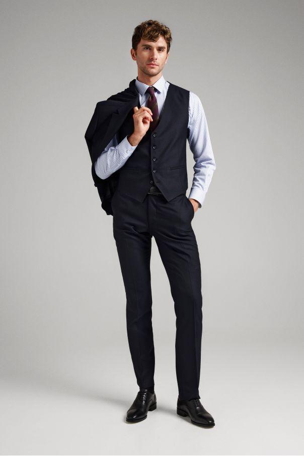 Костюм мужской темно-синий в мелкую диагональную фактуру с английским лацканом