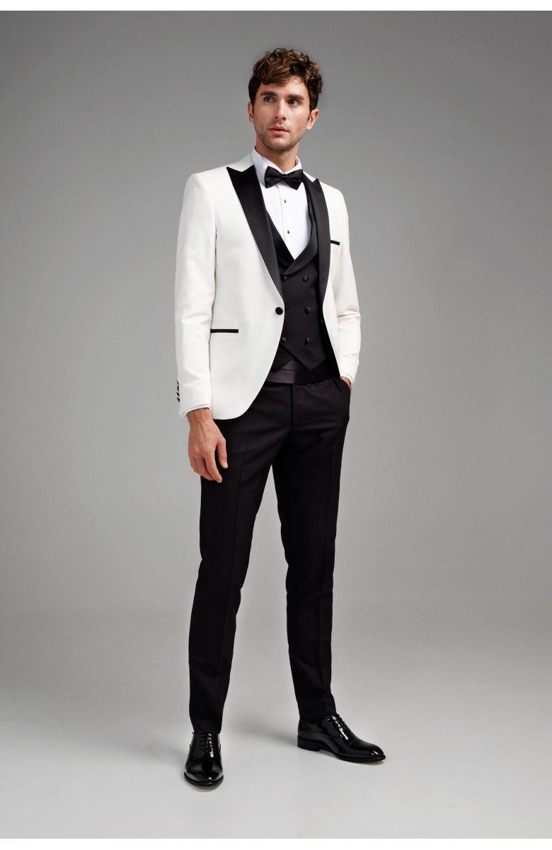 Костюм мужской смокинг белый с черным итальянским лацканом и жилетом