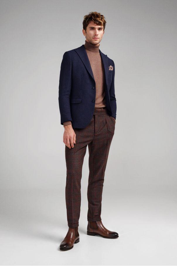 Гольф мужской (водолазка) коричневый slim fit меланж