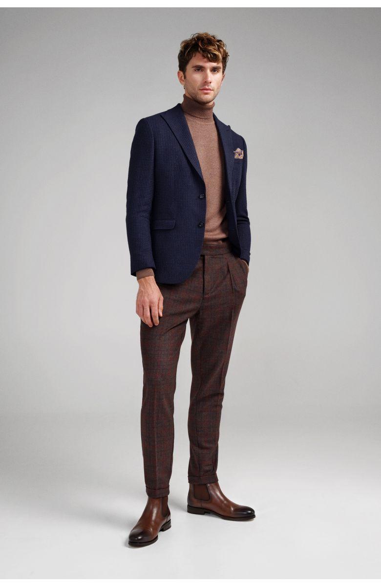 Пиджак мужской темно-синий с ячеистой вафельной фактурой с итальянским лацканом