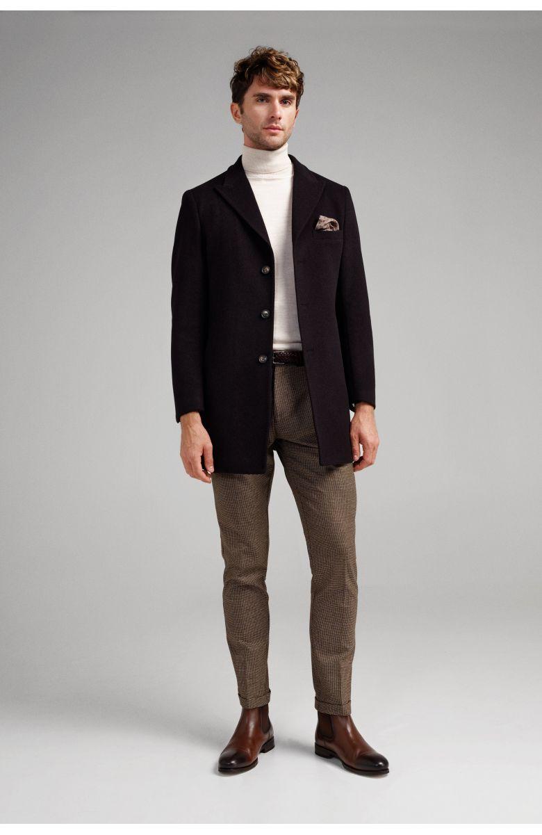 Пальто мужское темно-коричневое, с синими вкраплениями, демисезонное, итальянский лацкан