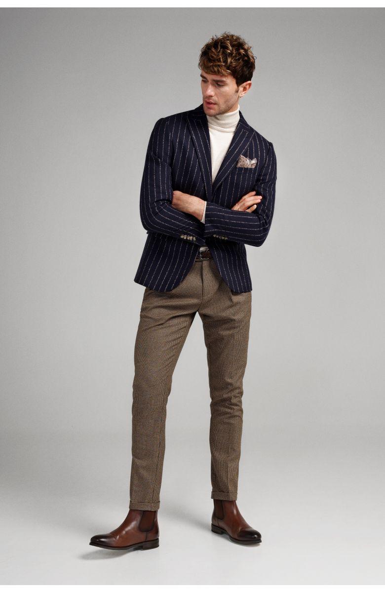 Пиджак мужской темно-синий в широкую бежевую полоску с итальянским лацканом