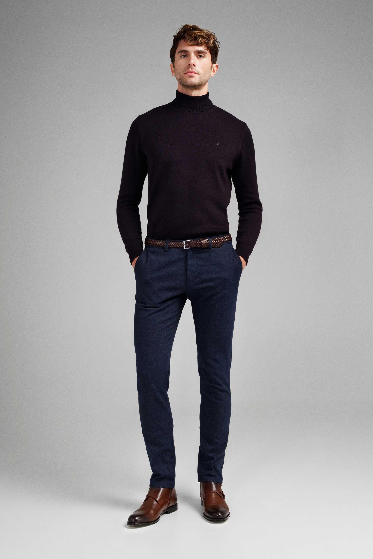 Гольф мужской (водолазка) темно-синий slim fit меланж