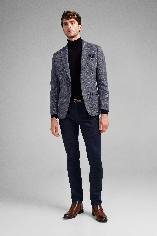 Пиджак мужской серо-голубой фактурный меланж в белую клетку c итальянским лацканом