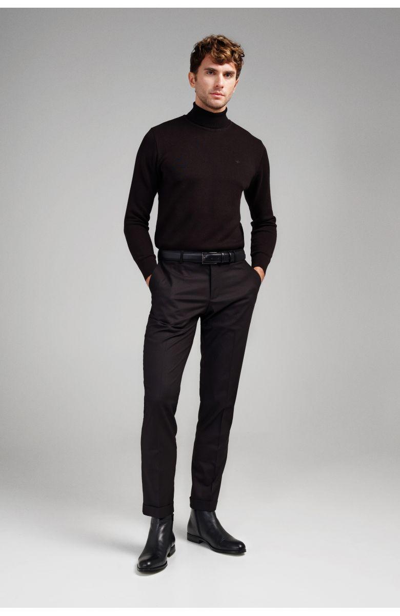 Гольф мужской (водолазка) черный slim fit меланж