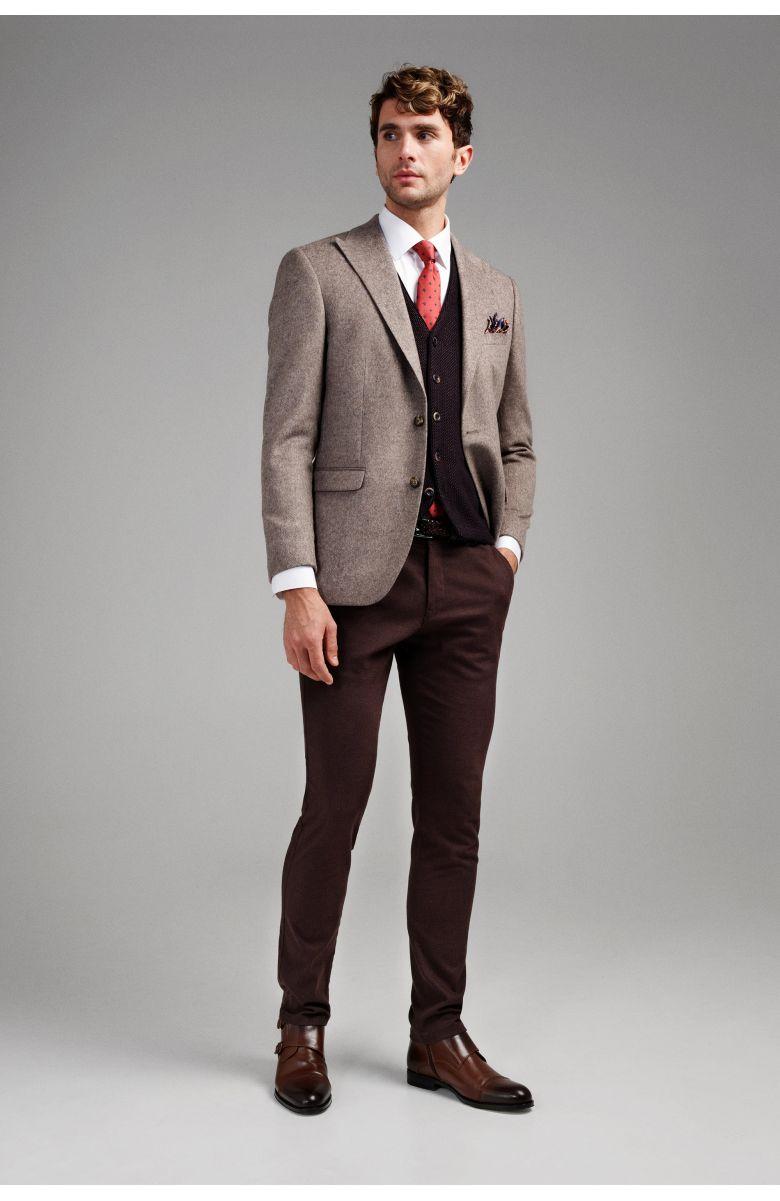 Пиджак мужской бежевый меланж с мелкими темными вкраплениями с итальянским лацканом