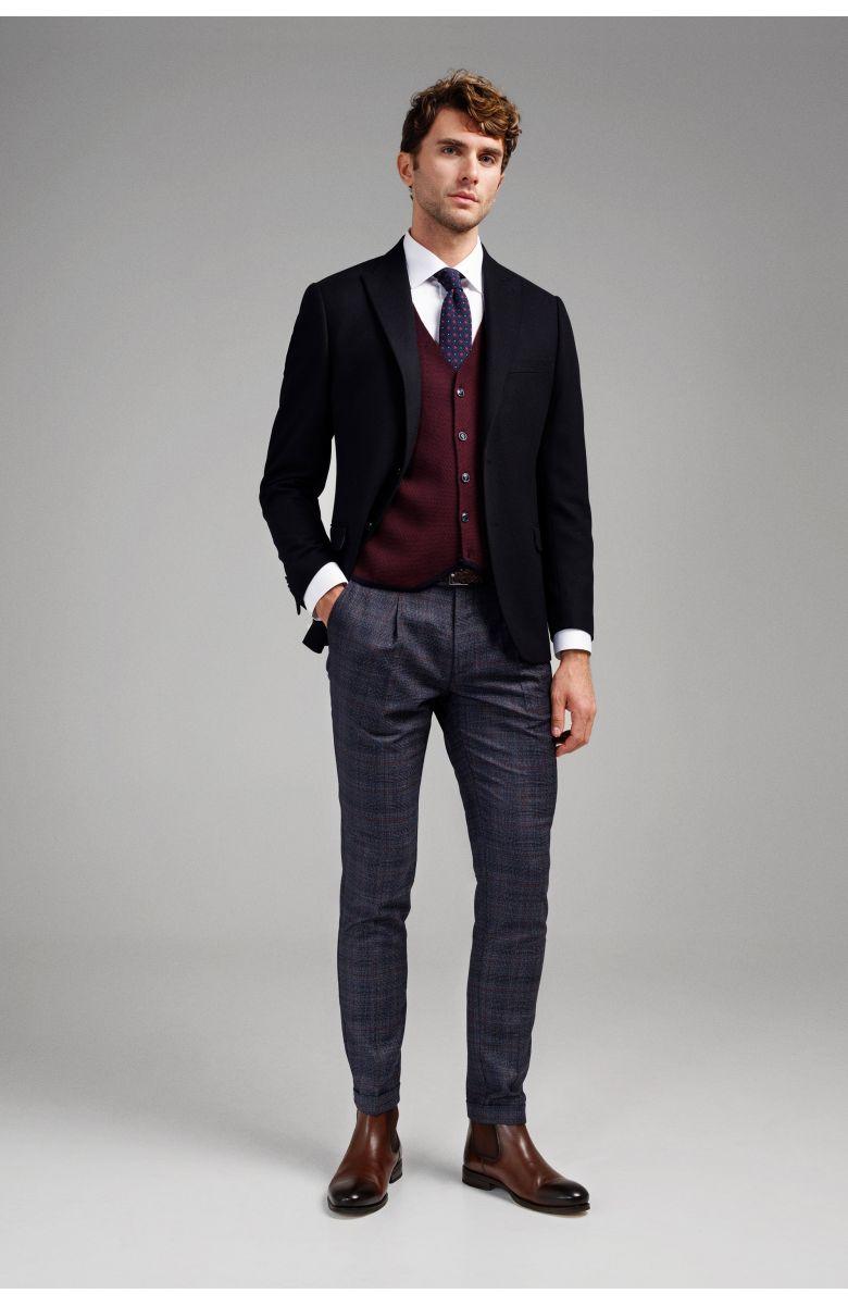 Пиджак мужской темно-синий c итальянским лацканом