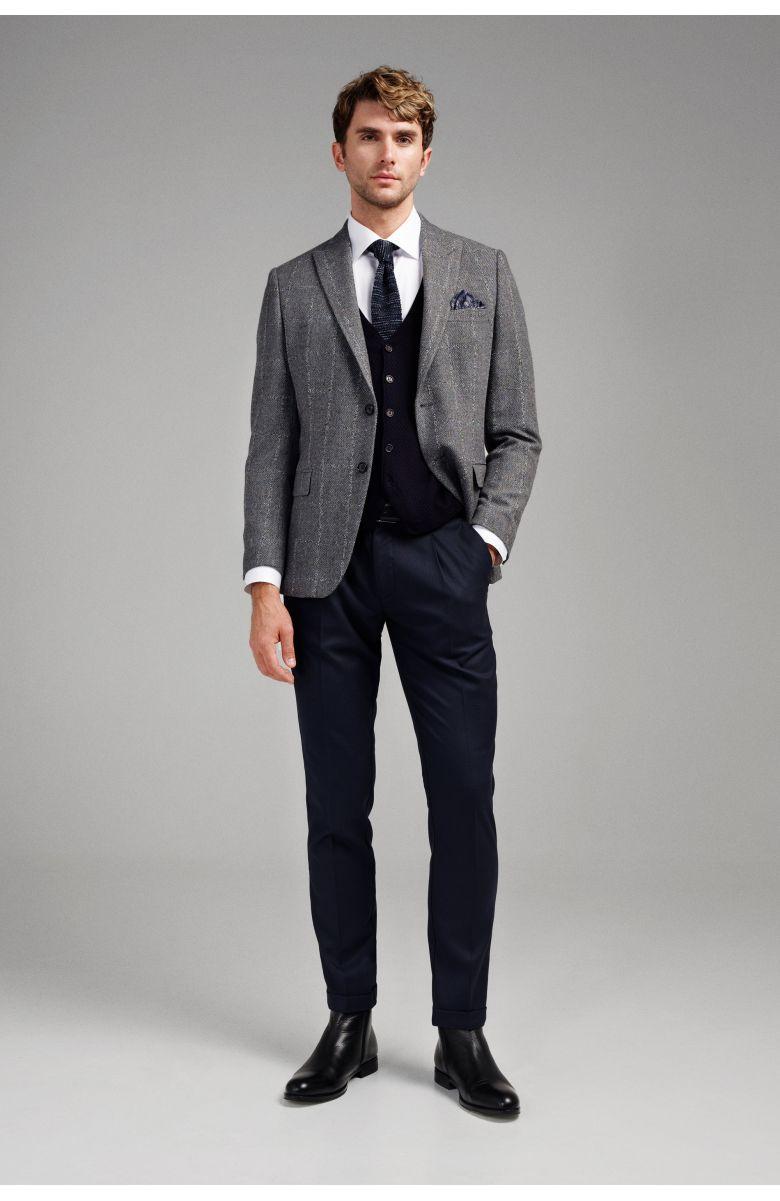 Пиджак мужской серый фактурный меланж в белую клетку c итальянским лацканом