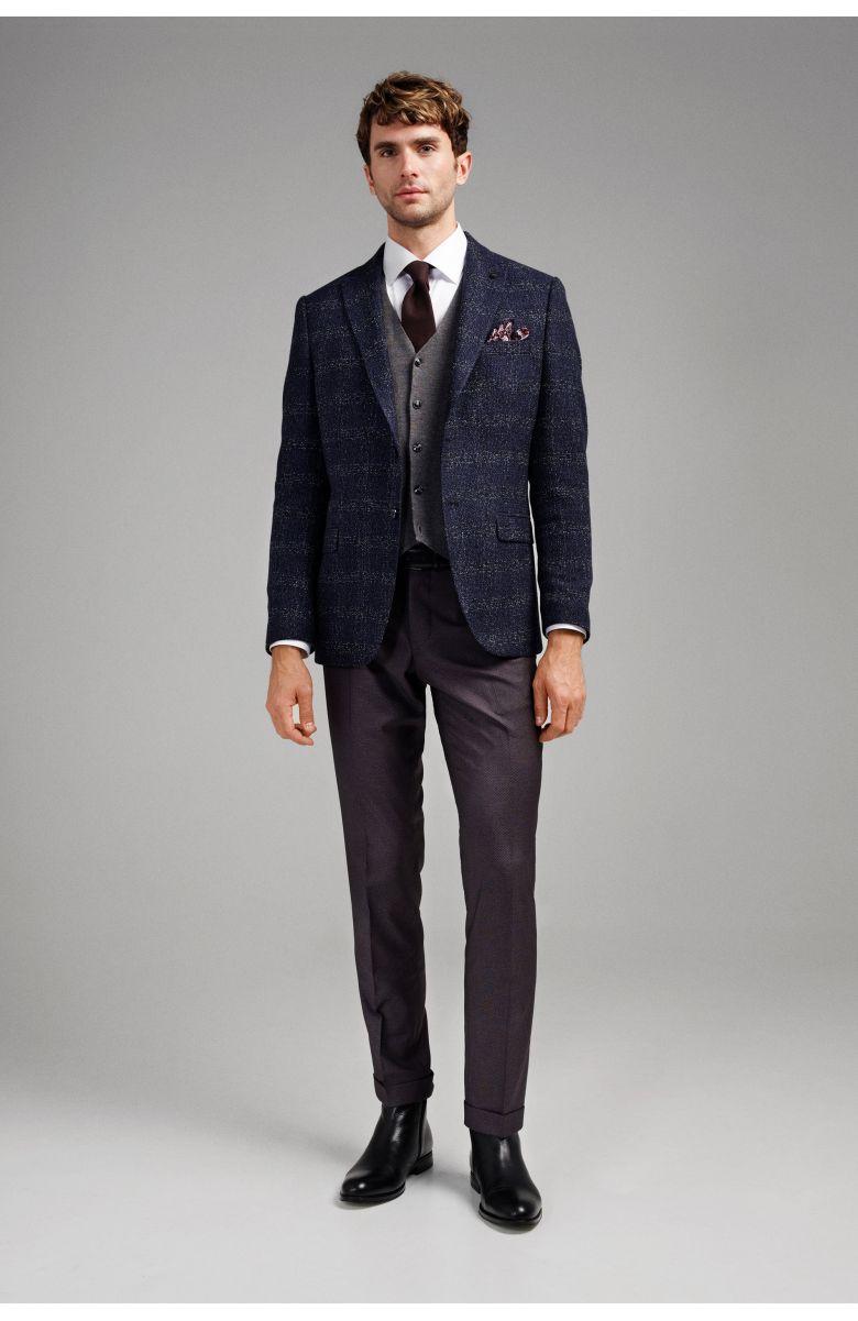 Пиджак мужской темно-синий фактурный меланж в клетку с вплетенной белой нитью c итальянским лацканом