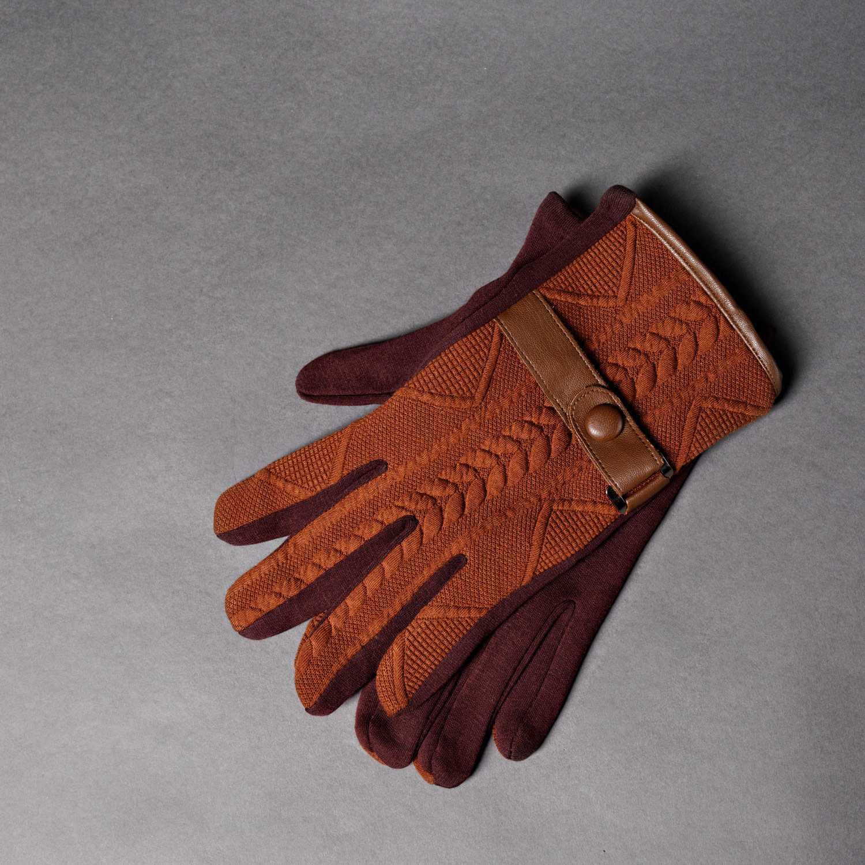 Трикотажные перчатки рыже-бордового цвета