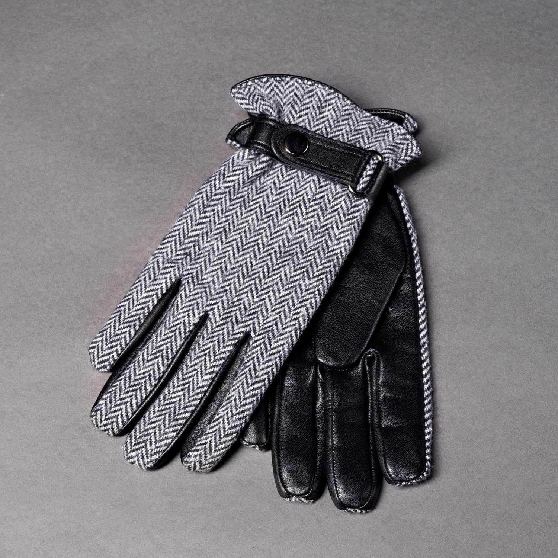 Перчатки кожаные с трикотажным верхом