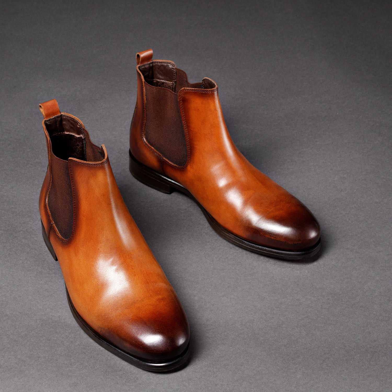 Рыжие ботинки челси