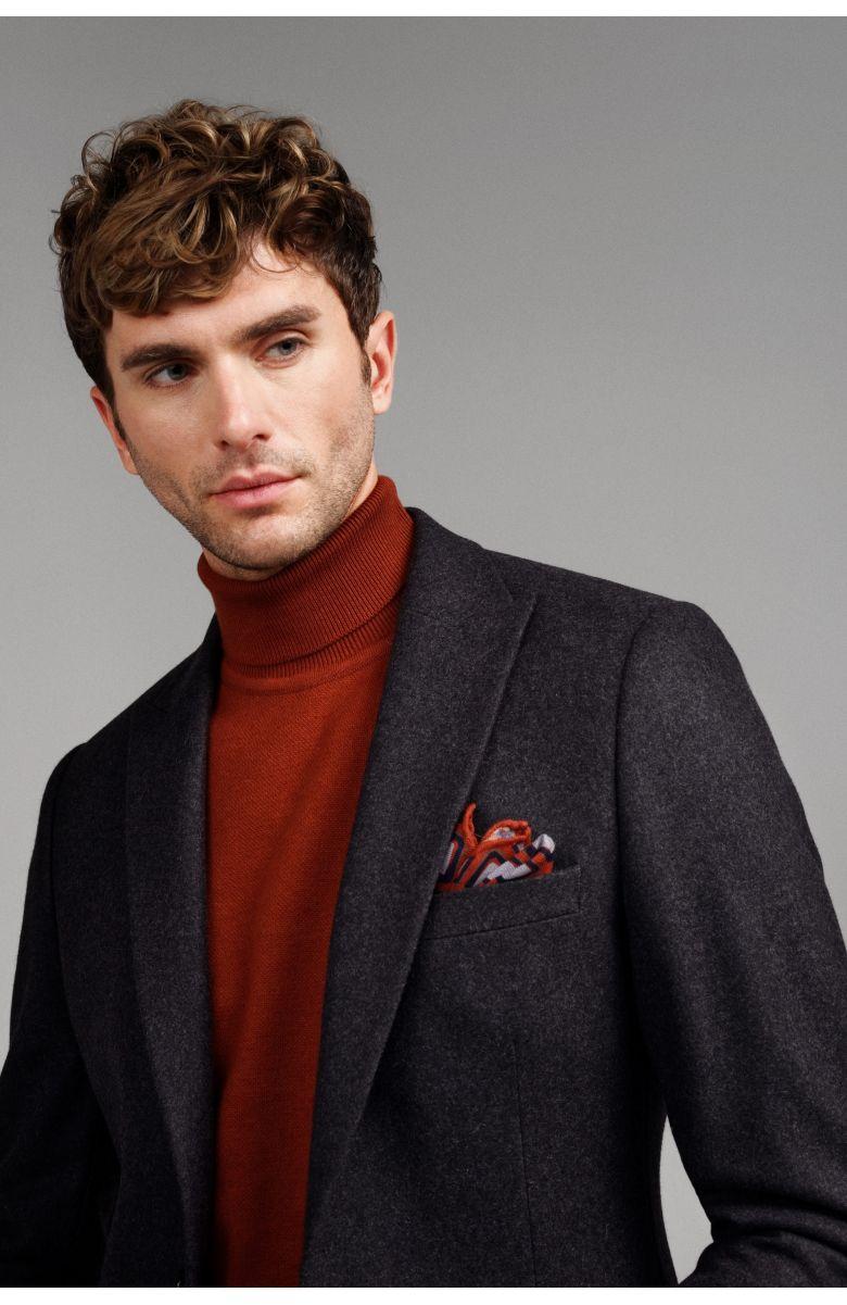 Пиджак мужской графитовый с итальянским лацканом