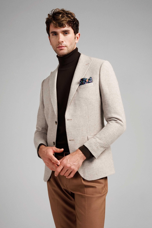 Пиджак мужской светло-бежевый с ячеистой вафельной фактурой с итальянским лацканом
