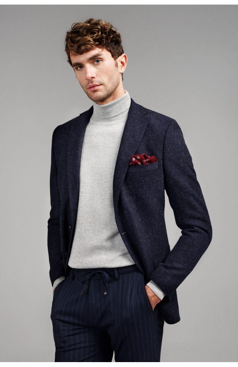Пиджак мужской темно-синий с вплетенной белой нитью букле