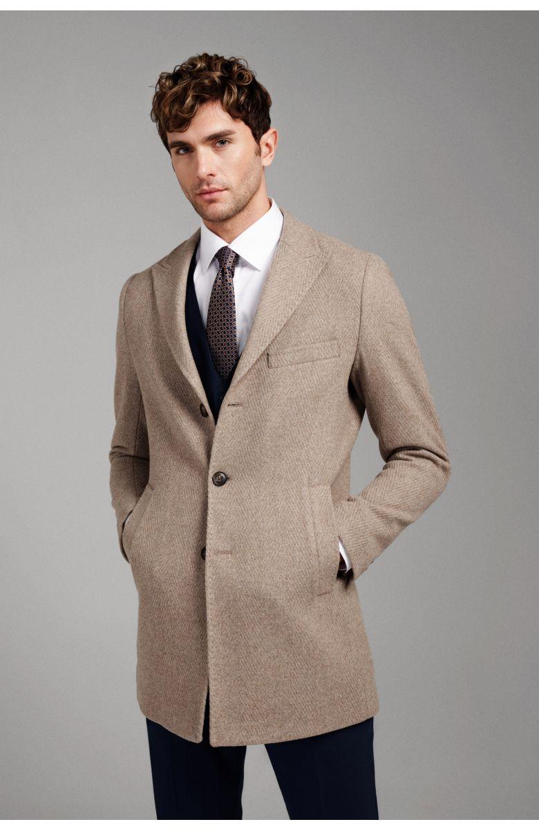 Пальто мужское бежевое в крупную елочку, демисезонное, итальянский лацкан