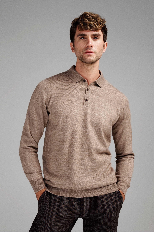 Джемпер мужской светло-коричневый итальянская шерсть, regular fit (рубашечный воротник)
