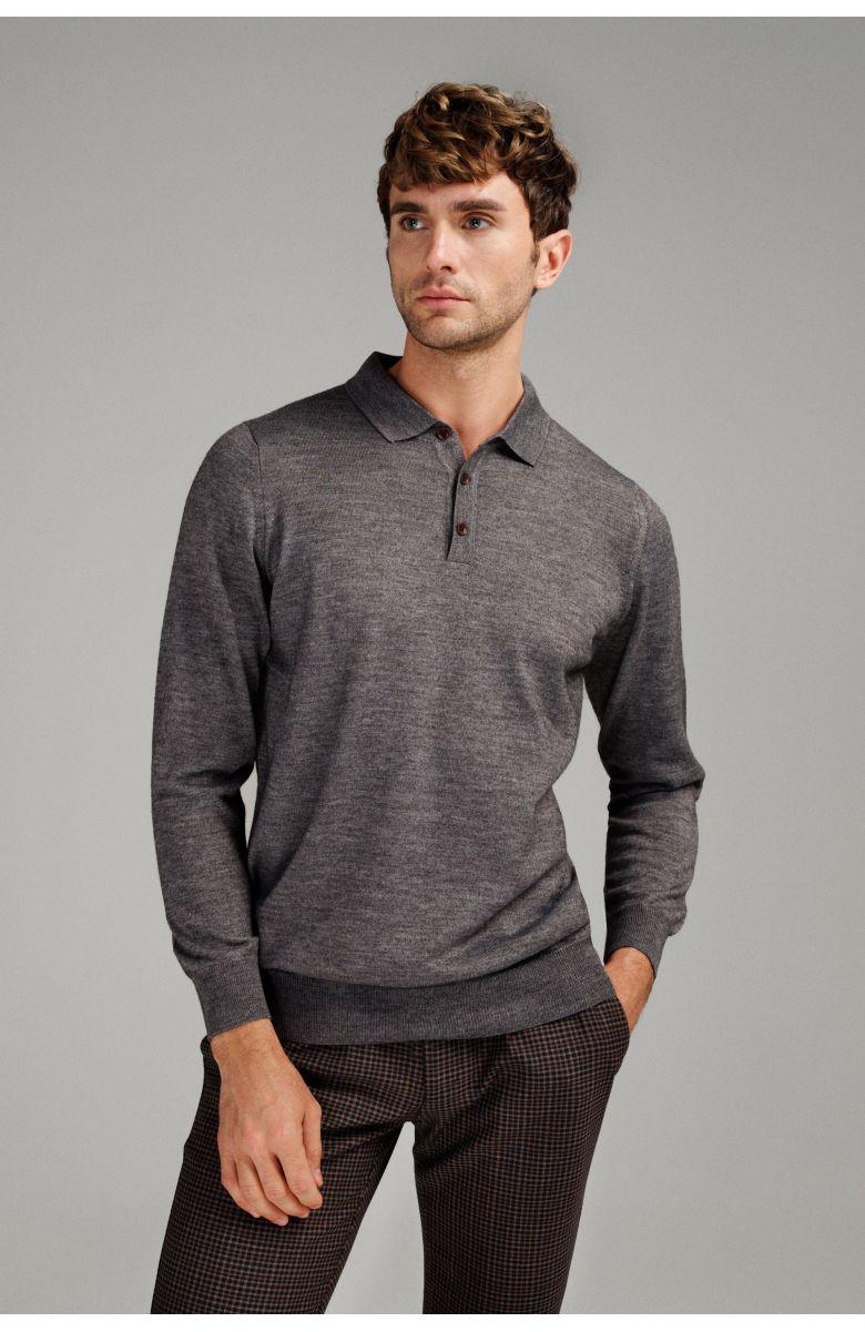 Джемпер мужской серый итальянская шерсть, regular fit (рубашечный воротник)