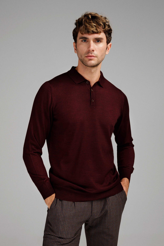 Джемпер мужской бордовый итальянская шерсть, regular fit (рубашечный воротник)