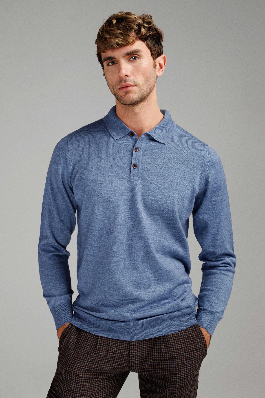Джемпер мужской небесного цвета итальянская шерсть, regular fit (рубашечный воротник)
