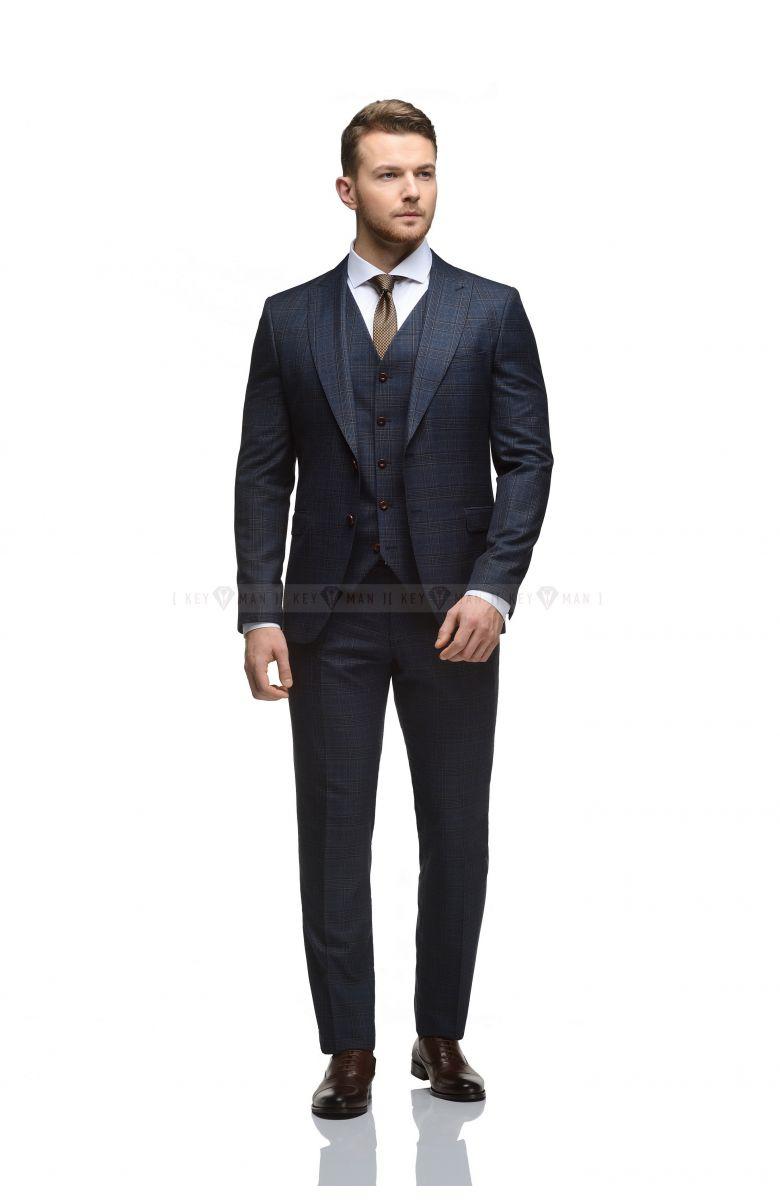 Комплект на свадьбу с синим костюмом в коричневую клетку с жилетом (костюм тройка, рубашка, туфли, галстук)
