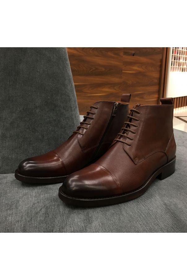 Ботинки мужские коричневые на шнурках с отрезным мысом (cap toe boots)
