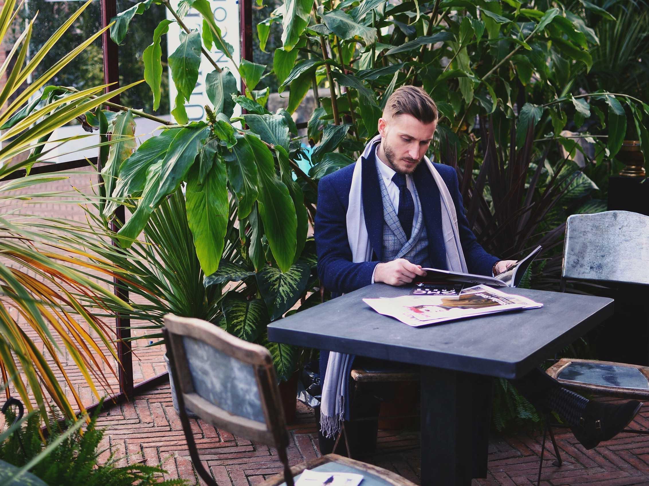 Пальто мужское синее меланж, мелкая клеточка, итальянский лацкан