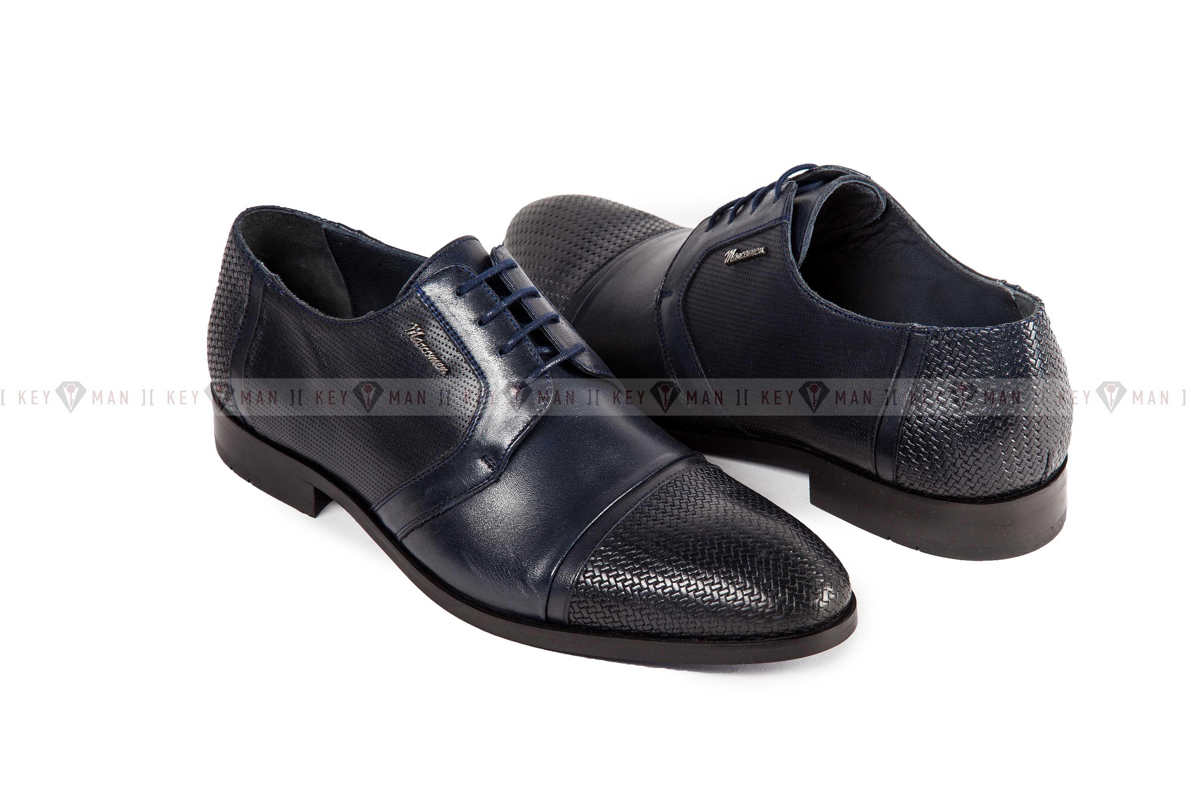 Туфли мужские дерби синие с плетеной выделкой