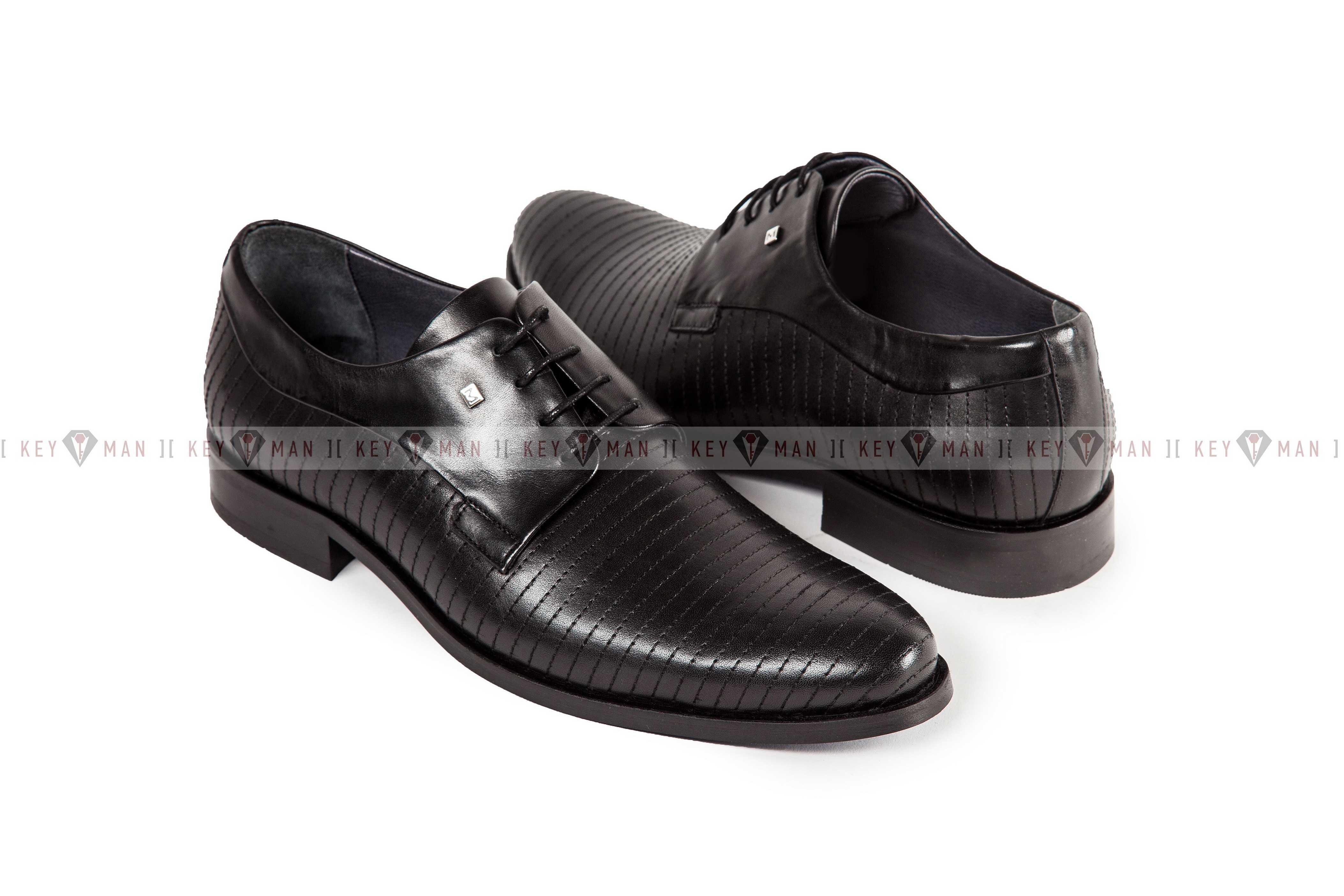 Туфли мужские дерби черные с декоративной прострочкой