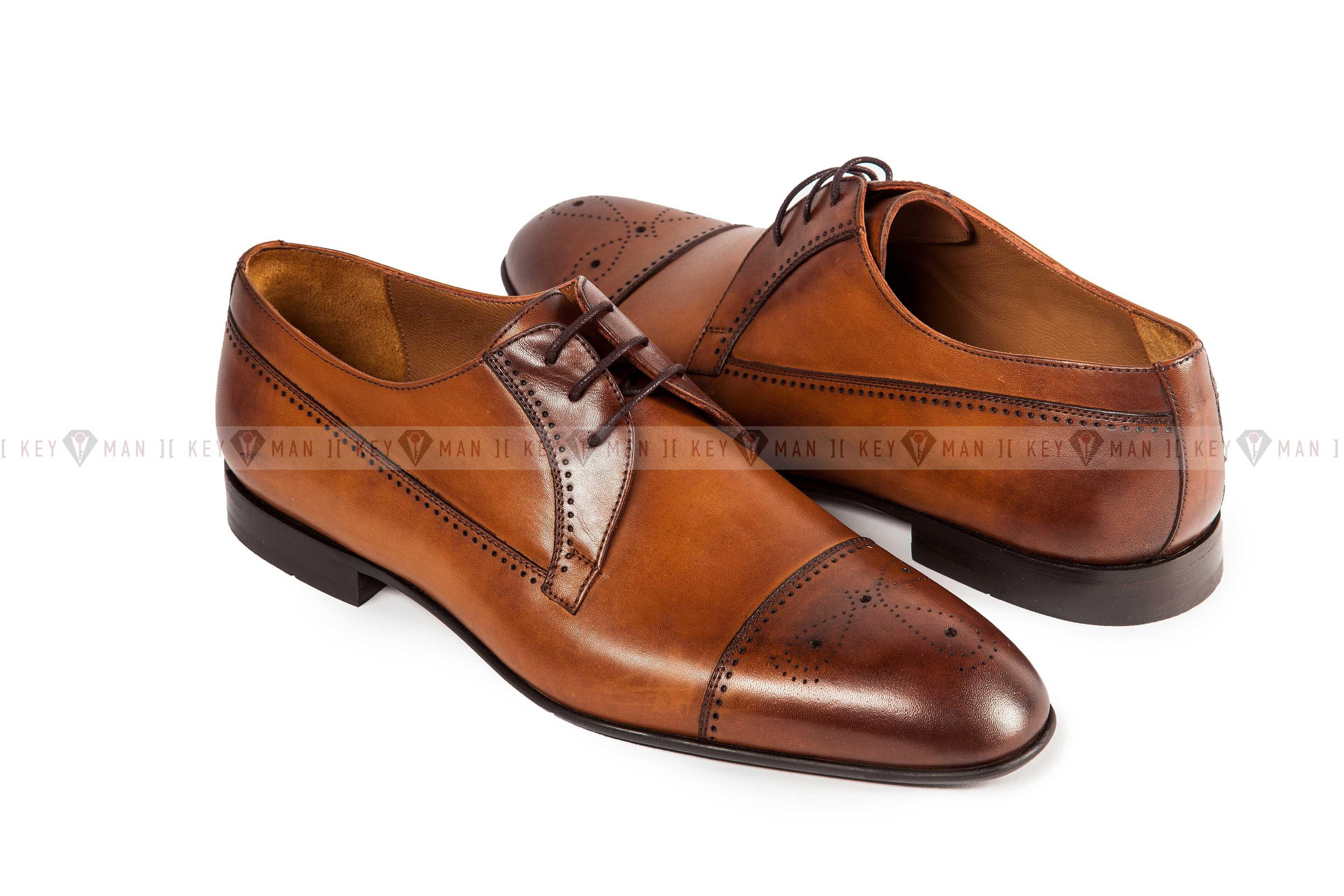 Туфли мужские дерби рыжие с декоративной перфорацией