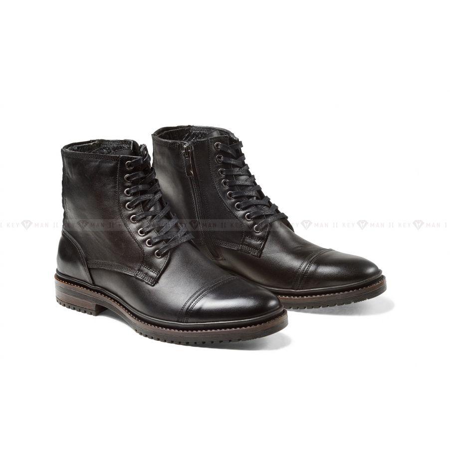 Ботинки мужские черные с декоративной прострочкой
