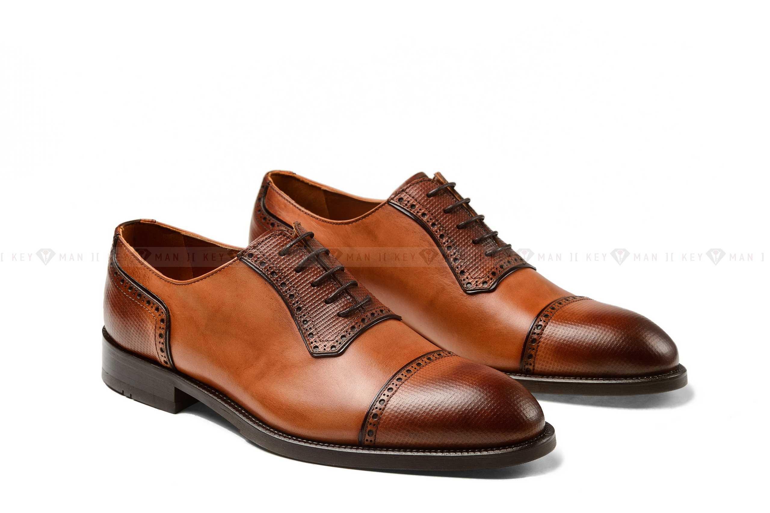 Туфли мужские оксфорды рыжие с декоративной выделкой
