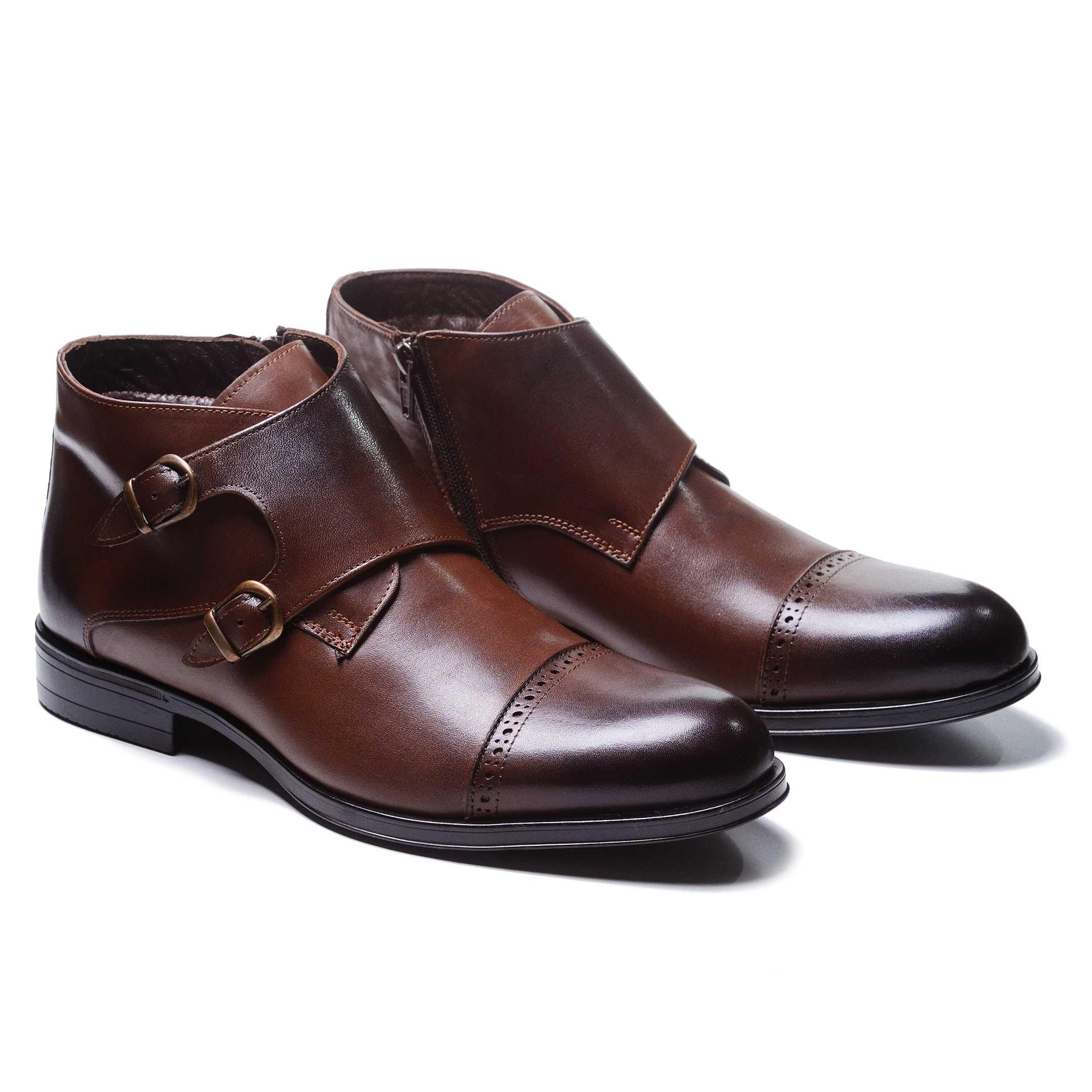 Ботинки мужские дабл монки коричневые с отрезным мысом (monk strap cap toe boot)