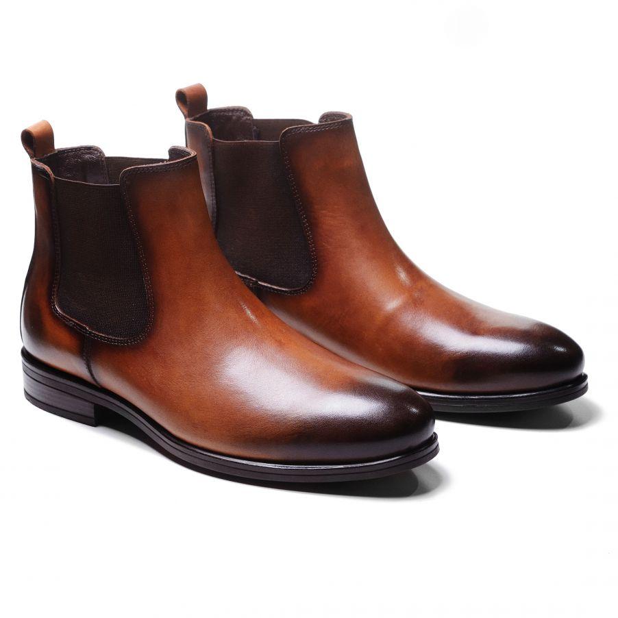 Ботинки мужские челси рыжие из гладкой кожи (chelsea plain toe boot)