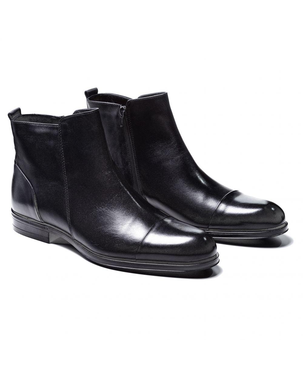 Ботинки мужские черные с отрезным мысом сбоку на замке (cap toe side zip boot)