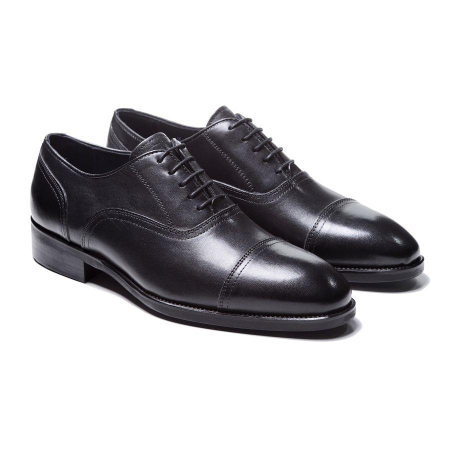 Туфли мужские оксфорды черные с декоративной прострочкой с отрезным мысом (cap toe oxford)