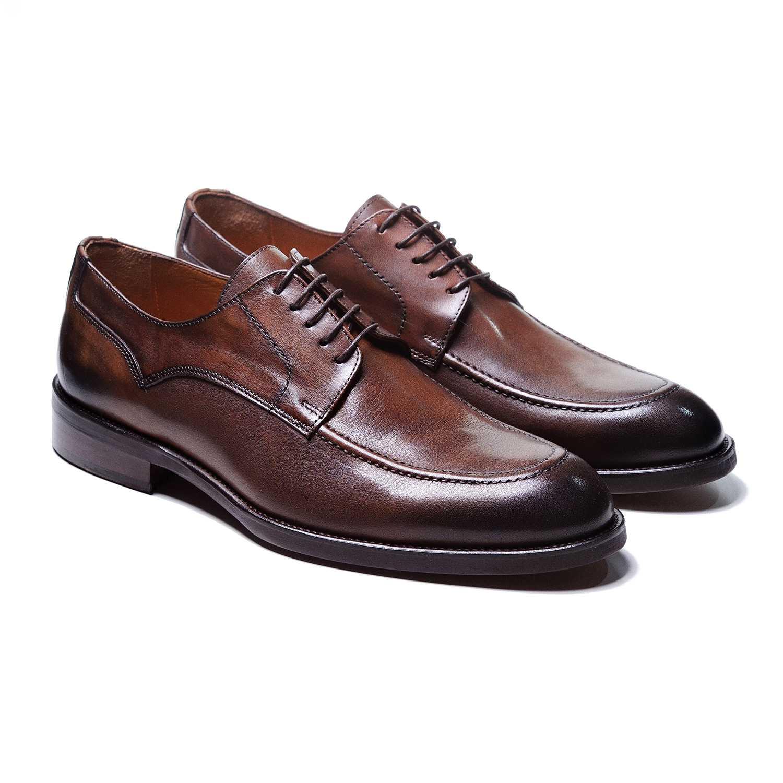 Туфли мужские дерби коричневые с декоративной прострочкой