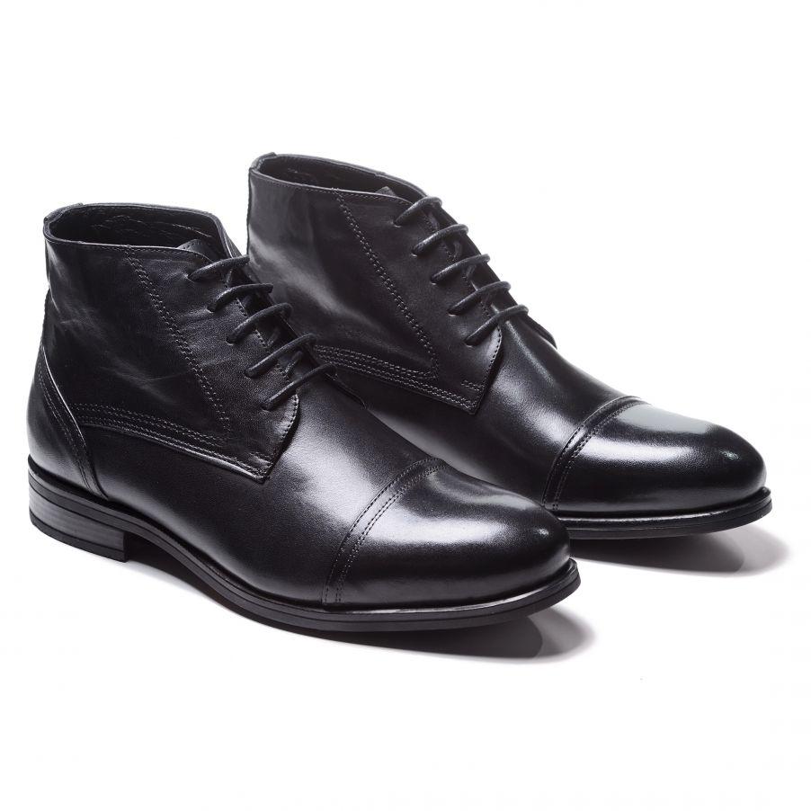 Ботинки мужские дерби черные с отрезным мысом из гладкой кожи (cap toe boot)