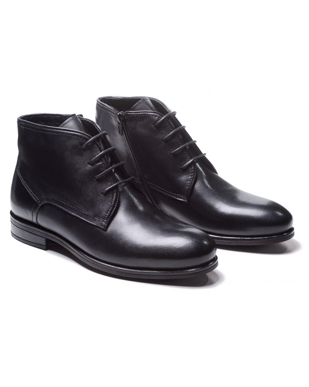 Ботинки мужские чукка черные из гладкой кожи (plain toe chukka boot)