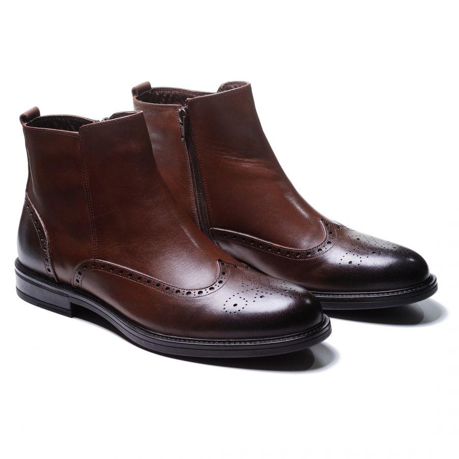 Ботинки мужские броги коричневые сбоку на замке (wingtip brogue boot)
