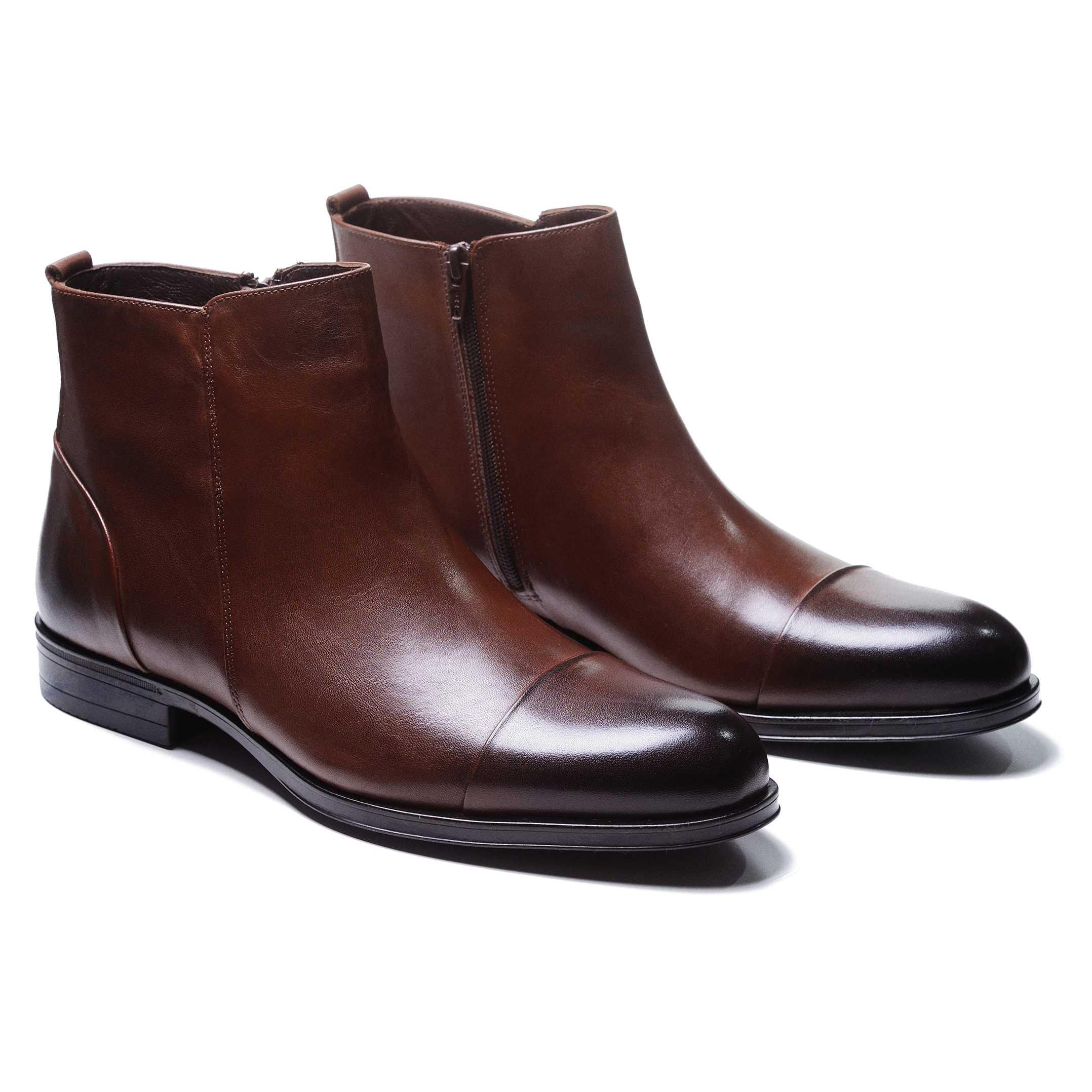 Ботинки мужские коричневые с отрезным мысом сбоку на замке (cap toe side zip boot)