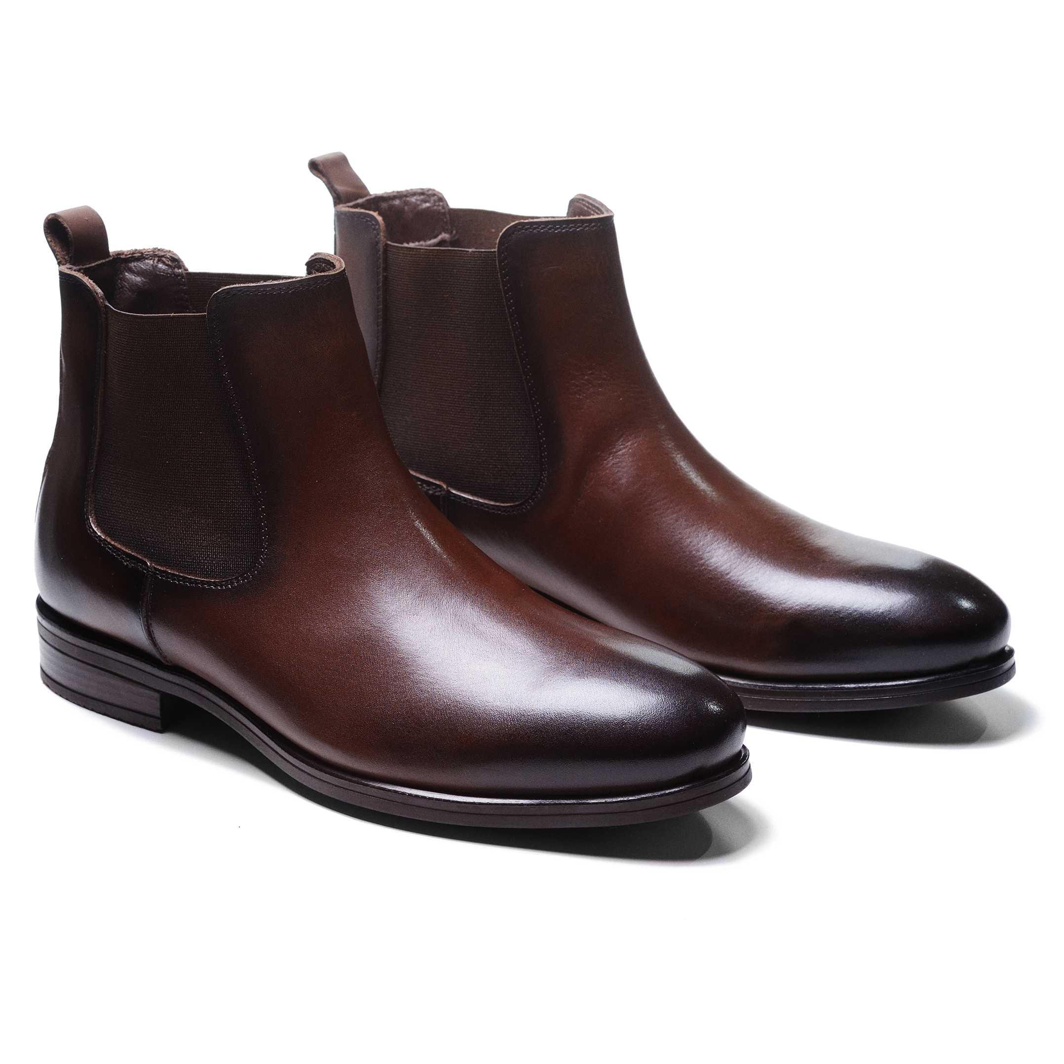 Ботинки мужские челси коричневые из гладкой кожи (chelsea plain toe boot)