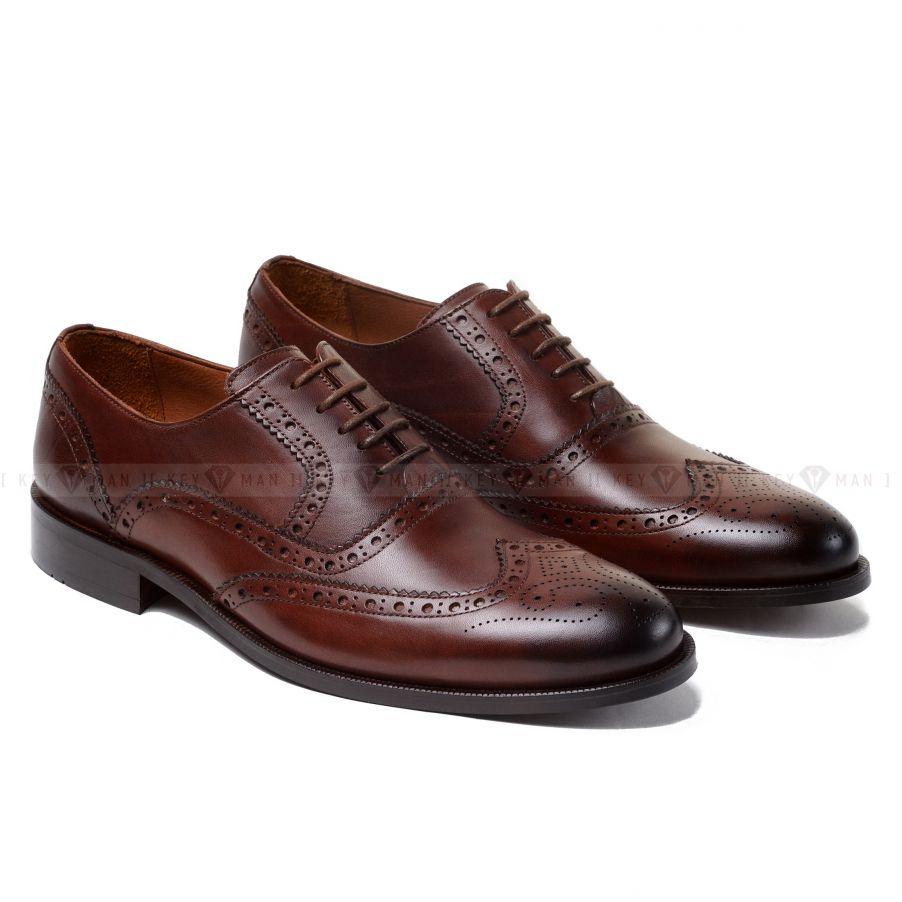 Туфли мужские оксфорды броги коричневые (резные края)