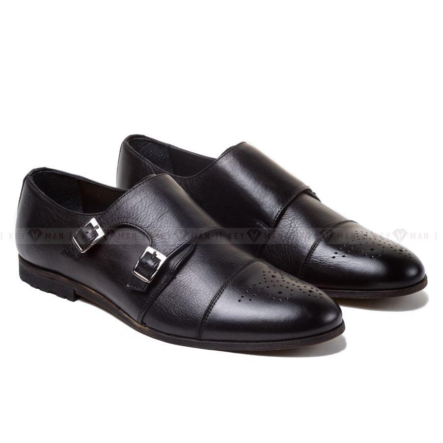 Туфли мужские дабл-монки на облегченной подошве черные