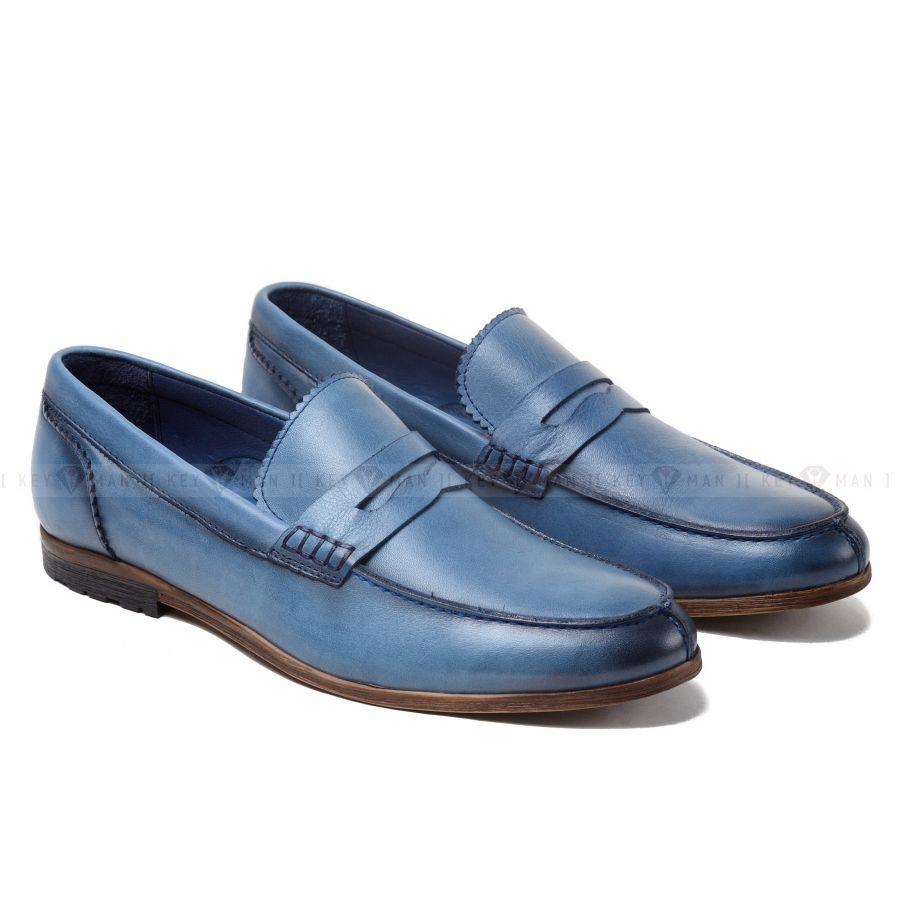 Туфли мужские лоферы голубые